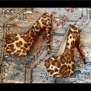 Leopard red bottom platform stilettos